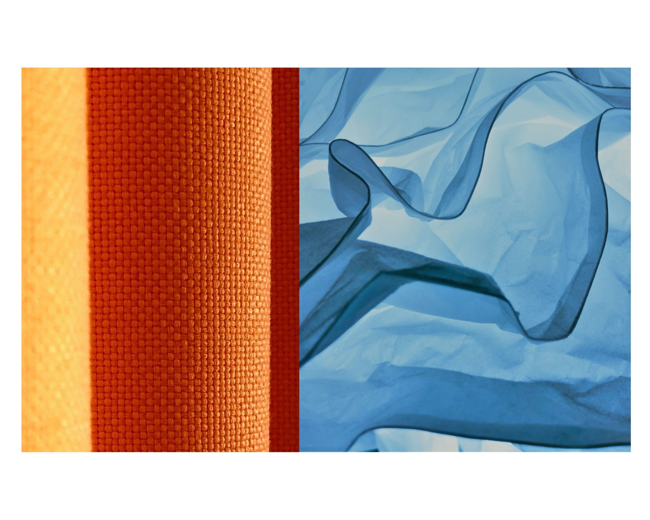 Breezy blue and contrasting heavy orange drapery trend. Covers Canada